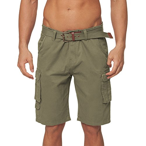 Gomati Original Urban Twill Herren Cargo Bermuda Short inkl. Gürtel-W34-Olive (Baumwoll-twill Shorts)