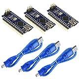 Philonext 3 Pcs Nano V3.0 ATmega328P CH340G 5 V Micro Conseil de développement de carte de contrôleur pour Arduino avec les en-têtes de PIN, pour Arduino Nano V3.0, carte Nano CH340 / ATmega328P (Style 2)