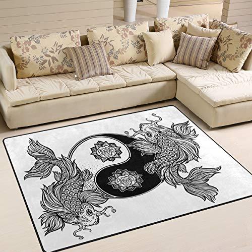 Use7 Teppich, Motiv: Koi Karpfen, Fisch, Asiatischer Yin Yang Seerosenbereich, für Wohnzimmer, Schlafzimmer, Textil, Multi, 203cm x 147.3cm(7 x 5 feet) -