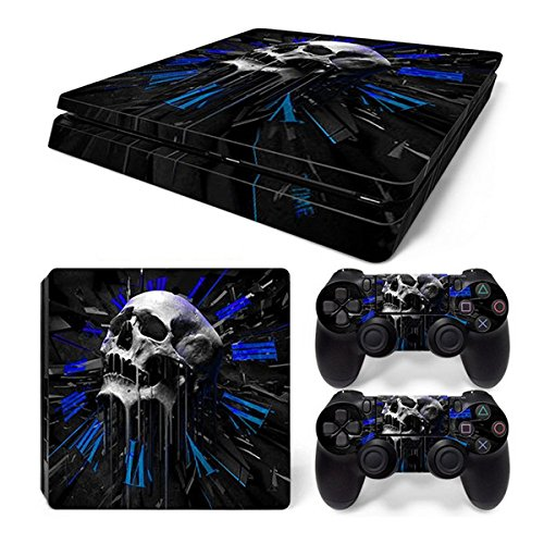 Morbuy Ps4 Slim Skin Consola Design Foils Vinyl Pegatina Sticker And 2 Playstation 4 Slim Dualshock Controlador Skins Set (Skull Roma)