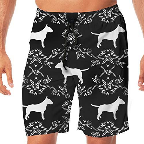 DDOBY Bull Terrier Floral Silhouette Hunderasse Stoff Black and White_930 Männer Badehose surfen Strand Urlaub Party Badeshorts Strandhosen XXL