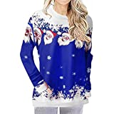 SMILEQ Christmas Damen Print Tops Kapuzenpullover Pullover Bluse T-Shirt -
