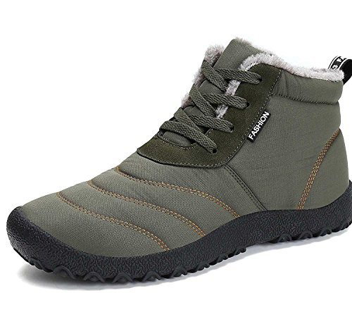 Minetom invernali unisex uomo sportive stivali da neve impermeabile scarpe stivaletti stringati con imbottitura calda sneaker verde eu 38