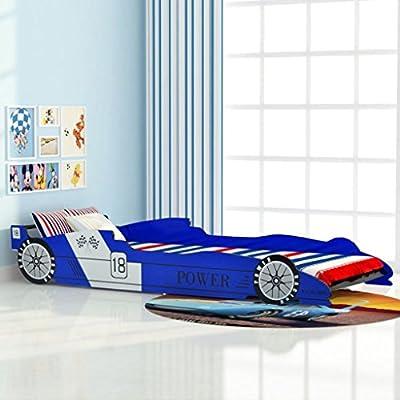 Lingjiushopping cama infantil coche de carreras 90x 200cm Azul Color Azul Material Color estructura de mdf (Medium Density fibreboard–Panel de fibras a media densit ¨ ¤) + Láminas de Madera