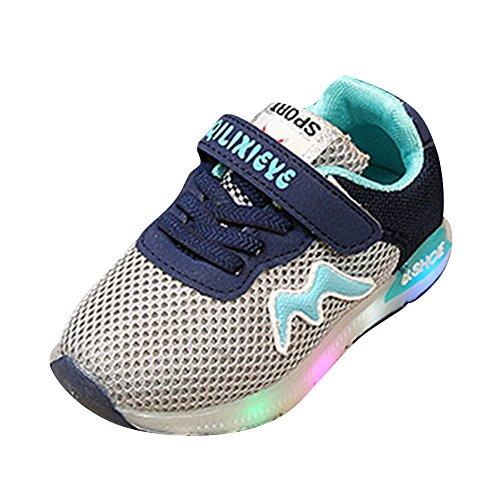 Mädchen Jungen LED Schuhe Sneaker - Kinder Schuhe LED Schuhe Breathable Led Lenuchtende Schuhe Licht Schuhe Running Sport Kleinkind Turnschuhe Grau 25 Kootk