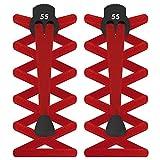 55Sport Elastische Schnürsenkelstopper, flaches Design, damen Herren Kinder, rot, Einheitsgröße