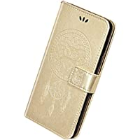 Herbests Compatible con Samsung Galaxy J5 2017 J530 Funda de Cuero Carcasa Cartera Flip Cover Funda con Tapa en Relieve Búho Estuche Retro Puro Color Wallet Case con Función de Soporte,Dorado