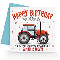 Personalised Boys Tractor Birthday Card Any Age, Relative & Message