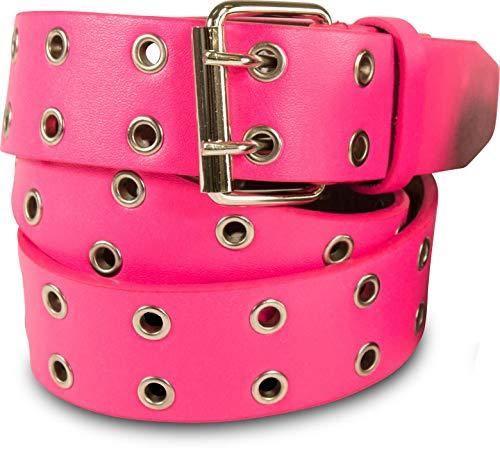 SCAMODA Doppelloch Nietengürtel mit Leder für Damen und Herren, Ösengürtel, versch. Farben, Größen, Breiten (Pink - 110/BW95 - Br. 3,5 cm)