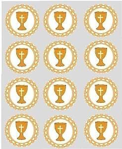 12x doré CALICE papier de riz décoration 40mm pré-coupé