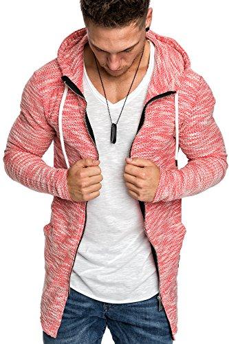 Amaci&Sons Herren Oversize Hochkragen Kapuzenpullover Jacke Sweatshirt Hoodie Sweatjacke Pullover 4015 Rot M - 2