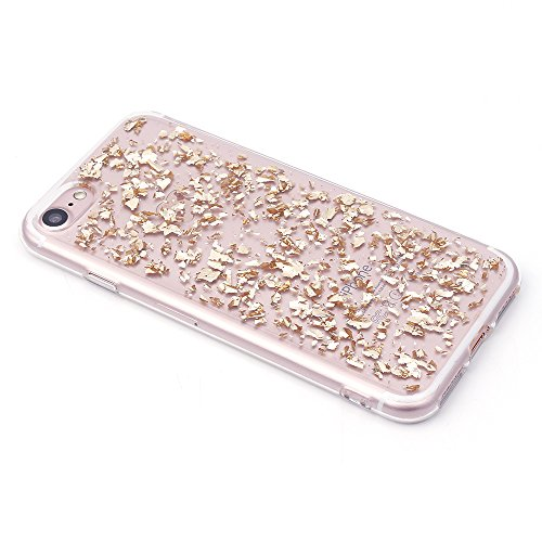 iProtect Apple iPhone 7, iPhone 8 biegsame TPU Soft Case Hülle Glitzer Pailletten Design in Silber IP7 Design Champagne Gold