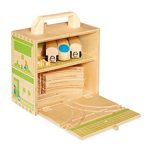 Casdon, Set da gioco in legno, richiudibile a valigetta, motivo: Trenino con pista