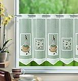 Kamaca Bistrogardine Coffee Break Scheibengardine Küchengardine mit handgesprühten Motiven kinderleicht in der Breite kürzbar Breite 100 cm/Höhe 45 cm EIN Hingucker in jedem Küche (braun mit Herzen)