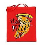 Hochwertiger Jutebeutel (mit langen Henkeln) - Italian Pizza - Italienische Pizza Food Lover Motiv - Schlichtes Und Witziges Design