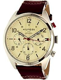 Tommy Hilfiger de los hombres Corbin 1791208plata cuero reloj de cuarzo
