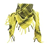WOLMIK 100% Cotton Military Shemagh Tactical Desert Keffiyeh Head Neck Scarf Wrap in Yellow