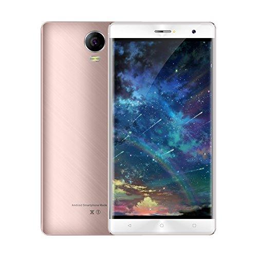 Handy Mit Unlocked Kamera 8mp (Smartphone ohne Vertrag , 6 zoll Plus Dual Sim Android 6.0 3G Handys Unlocked, 16GB ROM Quad-Core Prozessor mit 8MP Kameras, 2.5D IPS Display 720x1280, GPS, WIFI(Rosa))