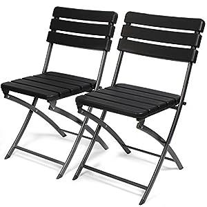 Park Alley Gartenstuhl in schwarz – klappbare Gartenstühle im 2er Set – hochwertige Klappsessel in Holzoptik…