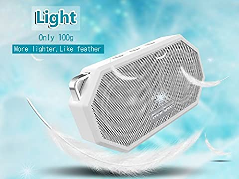 LESHP Enceinte de Poche Bluetooth étanche Haut-parleur Wireless Portable Président Douche haut-parleur avec Mic, appel mains libres Fonction de douche, voyage, randonnée, activités en plein air (Blanc)