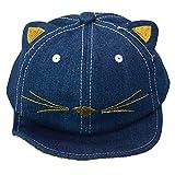 Infant Baby Toddler lovely Sun Hat Cat Peak berretto da baseball in rete per 3–18mesi, blu scuro Jean Blue Small