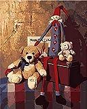 FSKJSZYH Rahmenlose Bär Spielzeug Puppe Tier DIY Malerei by Zahlen Moderne Wandkunst Leinwand...