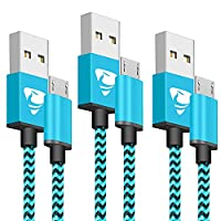 Micro USB Cable Aioneus Android Charger Cable 2M/6FT 3 Pack Nylon Braided Micro USB Charger for Samsung Galaxy S6/S7/S4/S3, Sony, LG, HTC, Nexus, Kindle, PS4 and More(Blue)