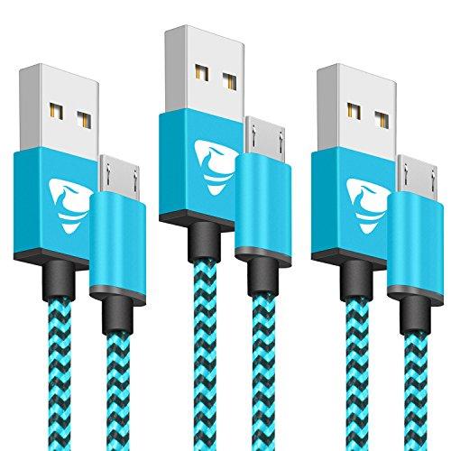 Aione Cavo Micro USB Cavo USB 2.0 [3 Pezzi, 2m / 6.5ft] Nylon Intrecciato Trasferimento di Dati e Ricarica Cavo Compatibile con Samsung Galaxy S6/S7/S4/S3, Sony, LG, HTC, Nexus, Kindle, PS4 (Blu)