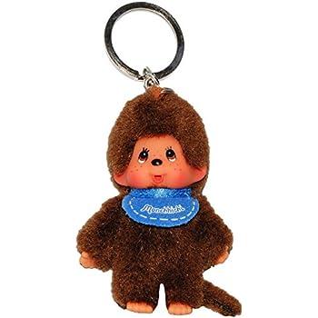 240311 Monchichi Porte-clé avec peluche de Kiki le singe et son bavoir bleu 10 cm
