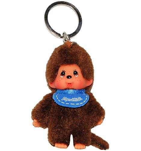 240311 Monchhichi Plüsch Schlüsselanhänger Junge ca. 10cm, blauer Latz Monchichi