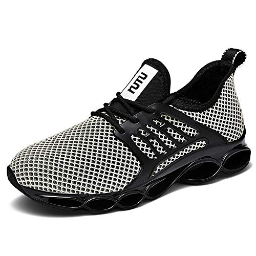 WateLves Herren Laufschuhe Fitness stra?enlaufschuhe Sneaker Sportschuhe atmungsaktiv rutschfeste Mode Freizeitschuhe(beige,42 EU)