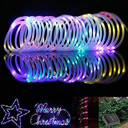 ShinePick Solar Lichtschlauch, 12M 100 LED Solar Lichterkette Außen, Automatisch An/Ausschalten Wasserdicht Solarlichterkette Außenlichterkette Weihnachtsbeleuchtung für Garten Aussen Deko(Bunt)