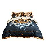Luxus Baumwolle Bettwäsche Set Königin König größe 3D-Tigerkopf-Digitaldruck Bettbezug Bett/Flache Blatt Fit Blatt Set Kissenbezüge (Stil 2, 220 * 240CM)