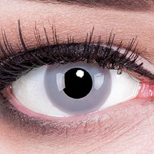 Farbige graue Kontaktlinsen Zombie Grey von Meralens ohne Stärke. 1 Paar weiche 12 Monatslinsen mit Behälter passend zu Fasching Karneval Fastnacht Halloween (Paar Passende Kostüme)
