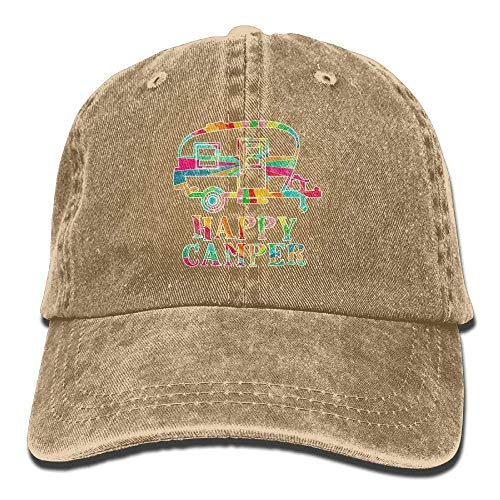 Khzhajian Colorful Happy Camper Vintage Washed Dyed Cotton Twill Low Profile Adjustable Baseball Cap Black