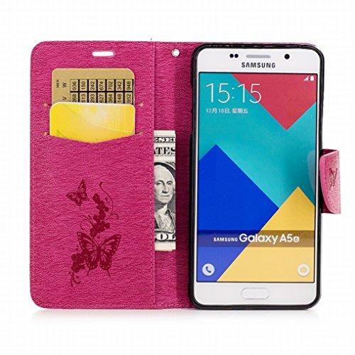 Custodia Samsung Galaxy A5 (2016) / A510F Cover, Ougger Farfalla Stampa Portafoglio PU Pelle Magnetico Morbido Silicone Flip Bumper Protettivo Gomma Shell Borsa Custodie con Slot per Schede (Rosa) Rosa