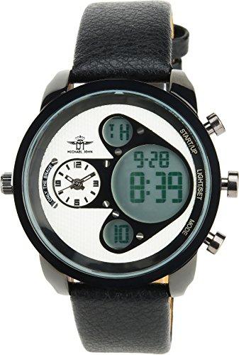MICHAEL JOHN - Herren Armbanduhrweiß Quarz Stahl Analog - Digital Display Typ Alarm Chronometer Zwei ZeitzonenSport Modus Armband schwarzLeder
