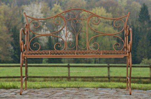 CLP Gartenbank TARA, Landhaus-Stil, Eisen lackiert, Design antik,113 x 47 cm, bis zu 5 Farben wählbar Antik Braun - 3