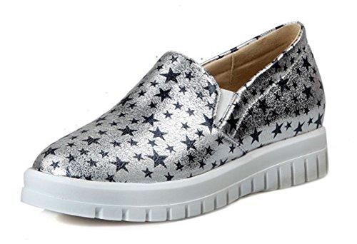 Aisun Damen Metallic Sterne Profilsohle Plateau Slipper Sneaker Schwarz 37 EU yIziq3Hpp