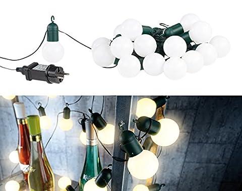 Lunartec LED-Lichterkette mit 20 Lämpchen, 1,2 Watt, warmweiß, 475 cm, IP44