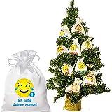 24 Adventskalender Säckchen aus edlem Satin (10 x 15 cm) - Beutel mit24 netten Emoticon-Botschaften für Erwachsene Bedruckt - mit Adventsbaum für Weihnachtskalender/Adventskalender zum Befüllen