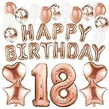 Sundell 41 Stück Geburtstag Dekoration – Riesen Zahl 18 Folienballons Rosegold Happy Birthday Ballons Banner, Konfetti Luftballons Geburtstagsdeko für Geburtstag Party Frauen Kinder Mädchen Party Deko