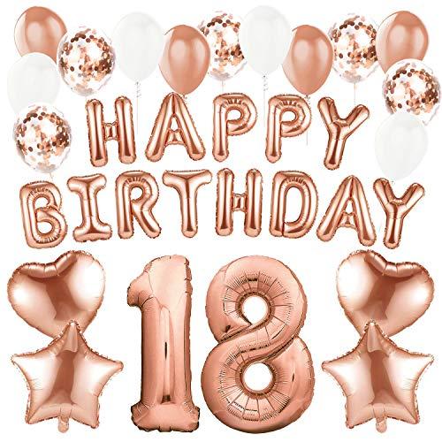 (Sundell 41 Stück Geburtstag Dekoration – Riesen Zahl 18 Folienballons Rosegold Happy Birthday Ballons Banner, Konfetti Luftballons Geburtstagsdeko für Geburtstag Party Frauen Kinder Mädchen Party Deko)