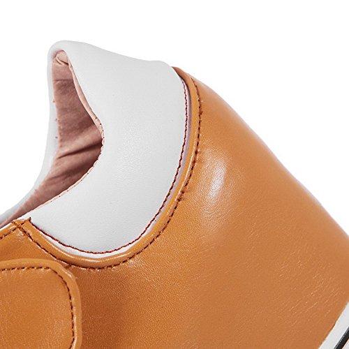 AgooLar Femme Pu Cuir à Talon Haut Rond Couleur Unie Velcro Chaussures Légeres Jaune