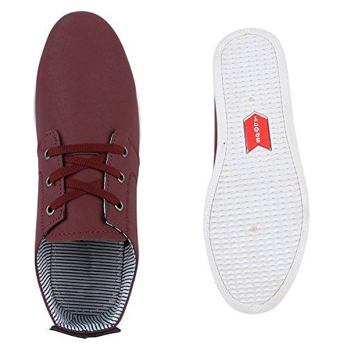 Bequeme Herren Sneakers Basic Sportschuhe Schnürer Freizeitschuhe Dunkelrot Dunkelrot