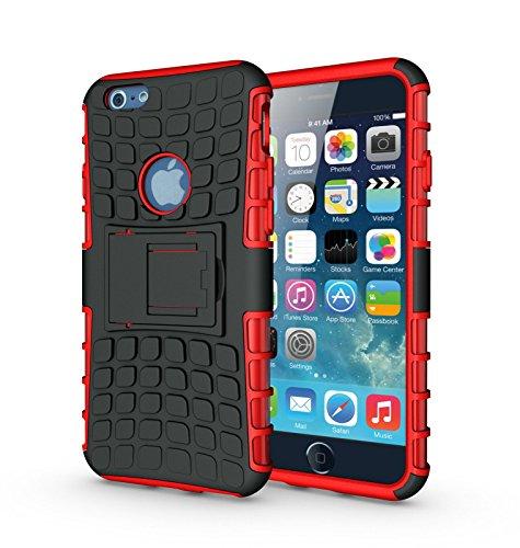 jsound® iPhone 6, 6Plus Coque, Housse résistante hybride avec support (Coque en TPU + Coque en plastique rigide), plastique, rouge, For 5.5 Inch