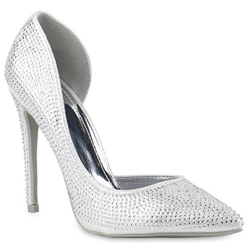 Damen Spitze Pumps High Heels Stiletto Strass Metallic Party Schuh 145745 Silber Strass 38 Flandell Metallic-stiletto Heel