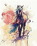 [ Holzrahmen ] Malen nach Zahlen Neuerscheinungen Neuheiten - DIY Gemälde durch Zahlen, Malen nach Zahlen Kits-Gemaltes Pferd 16x20 inch