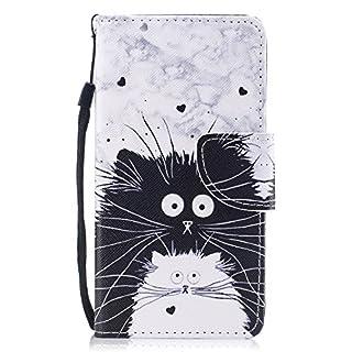 Samsung Galaxy S8 Hülle, Edaroo Furry Schwarze Weiße Katzen Design PU Leder mit Weich Silkon TPU Inneren Dünn Stoßfest Book Case Magnetverschluss Klapphülle Cover für Samsung Galaxy S8