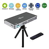 DLP Mini Projecteur Super PDR Vidéoprojecteur WiFi HD LED, Projecteur Portable Multimédia Home Cinéma, WiFi, Bluetooth 4.0, Batterie Intégrée Rechargeable au Lithium, un Trépied, des Entrées HDMI / USB / Micro SD / Audio 3,5mm